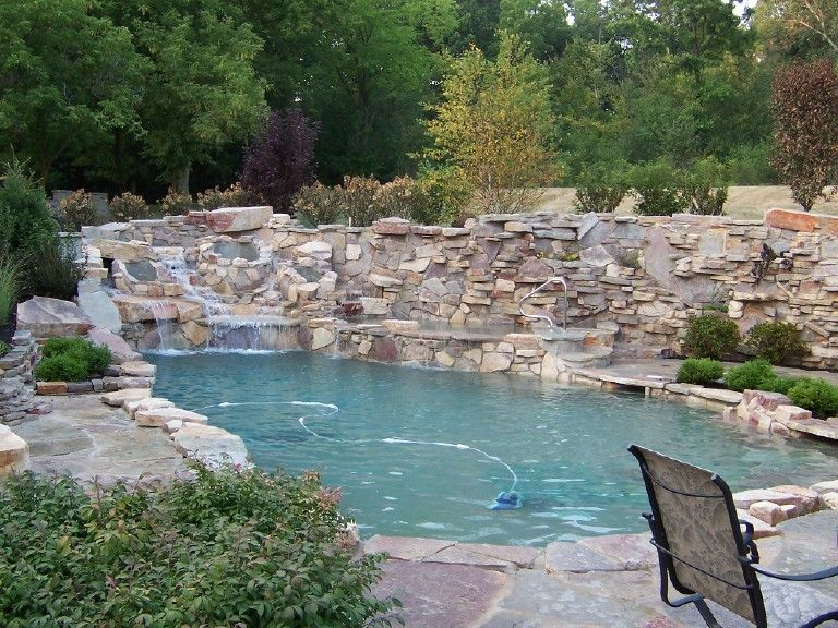 Stone Wall With Waterfall Into Pool Aaahhh Natural Swimming