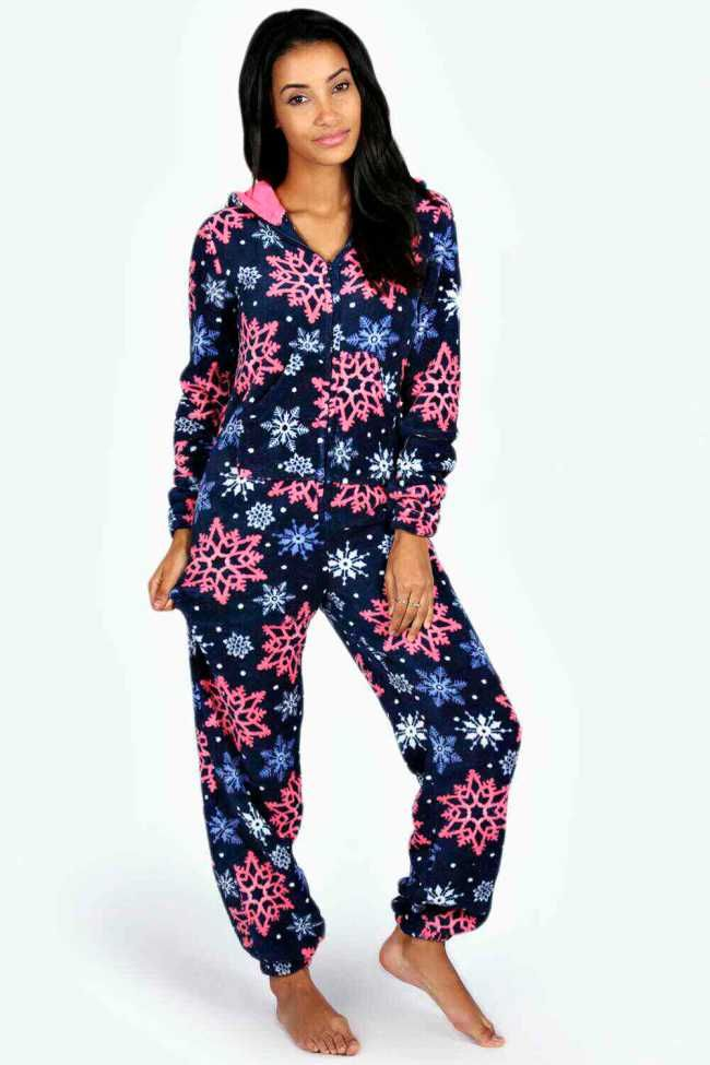 2e4b449ed6be Adult Onesies Australia - Womens Snowflake Warm Cosy Fleece Onesie Pajamas
