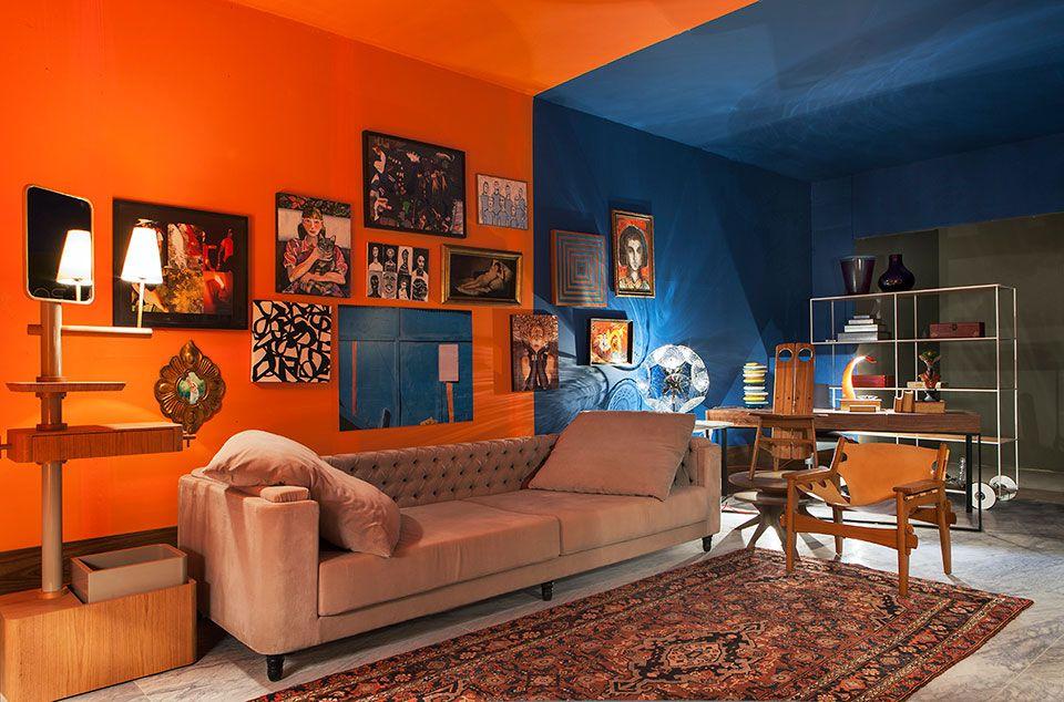 Resultado de imagem para decoração casa Azul e laranja