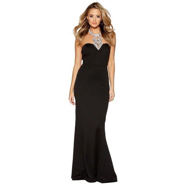 Quiz Black diamante halter neck fishtail maxi dress (57 AUD ...