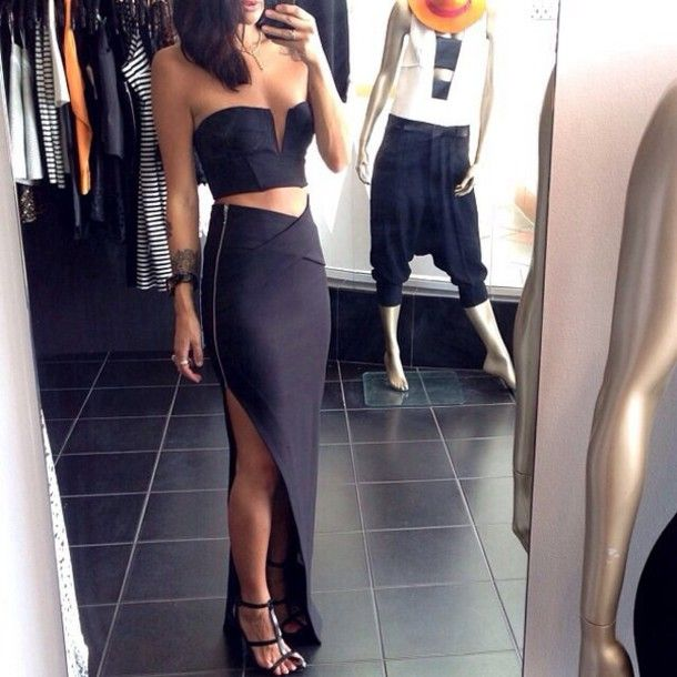 Fashion V-neck zipper two-piece dress 41603 from clothing | Color ...