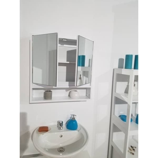 Evideco Wall Mounted Mirrored Medicine Cabinet Montreal White 2