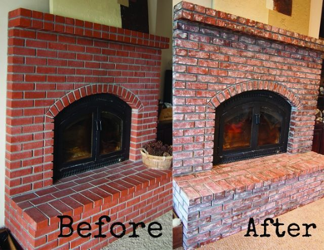 How To Age And Distress Bricks Brick Fireplace Makeover Red Brick Fireplaces White Wash Brick