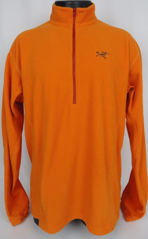 f89b6773f8070e Arc Teryx XL Polartec Fleece 1 2 Zip Jacket Shirt Pullover Orange LS Logo  Men s  ArcTeryx  12Zip