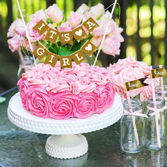 c986f9ec8 Baby Girl Cake Topper - Gold Baby Shower Cake Banner - Baby Girl ...