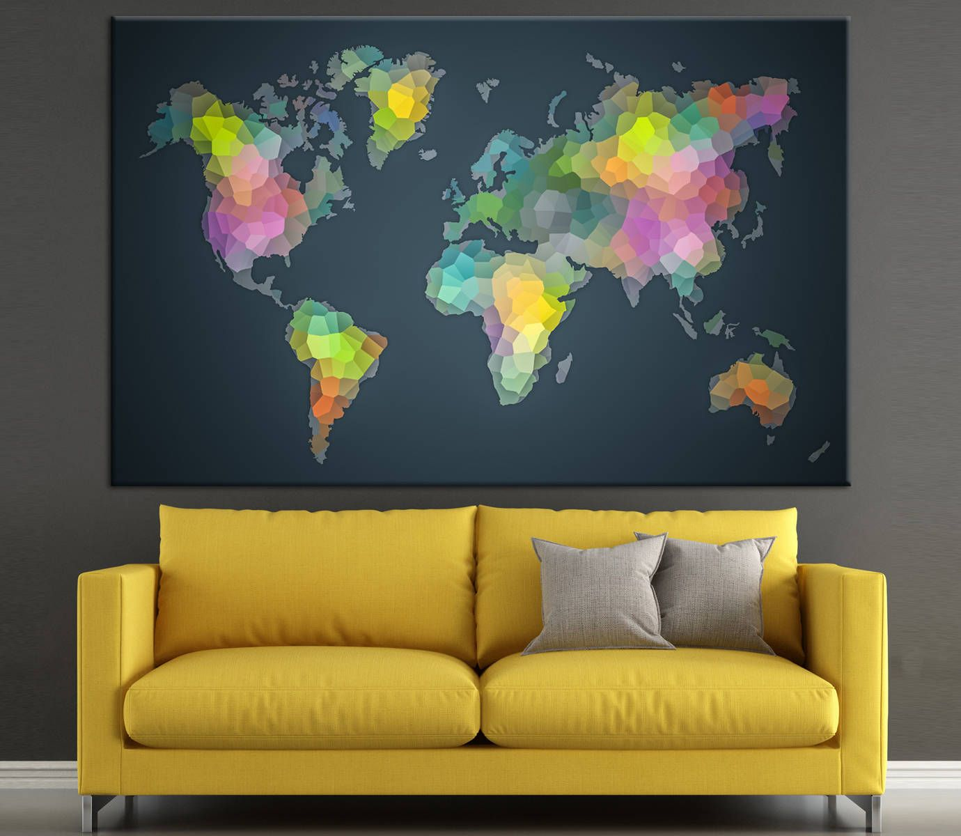 Colorful World Diversity Geometric World Map, Large Canvas Panels ...