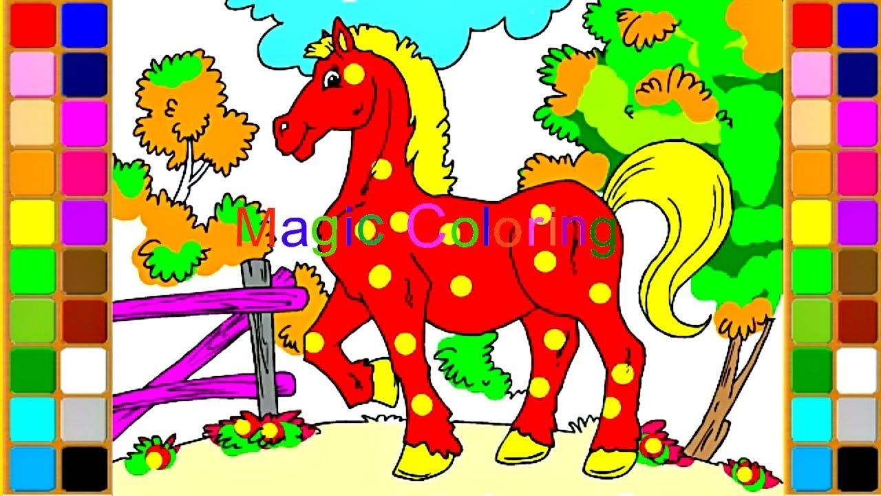 How to Draw a Horse Sounds of Farm Animals Colourful Horse Coloring ...