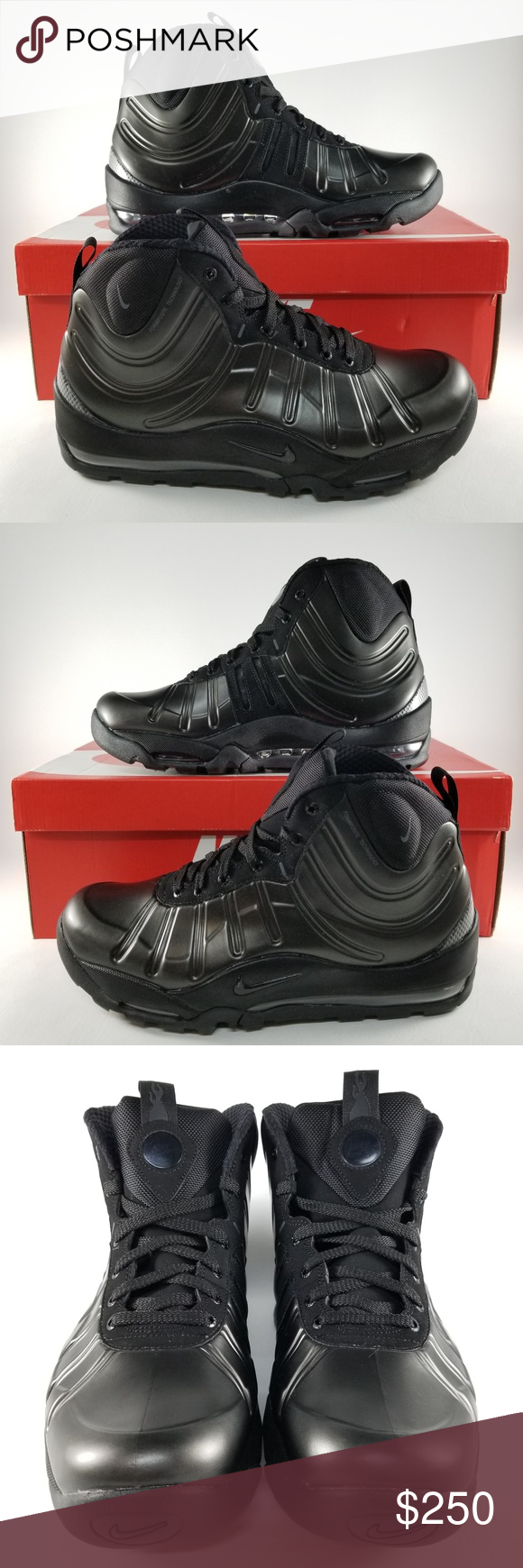 hot sale online cde16 9cef5 Nike Air Bakin  Posite Men Sneaker Boots 9.5 Black Nike Air Bakin  Posite  Men s Sneaker Boots Style  618056-001 Color  Black   Anthracite-Black-Black  Size  ...