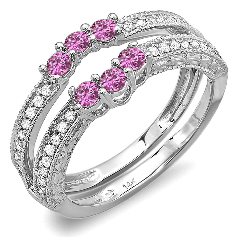 14K White Gold Round Pink Sapphire And White Diamond La s