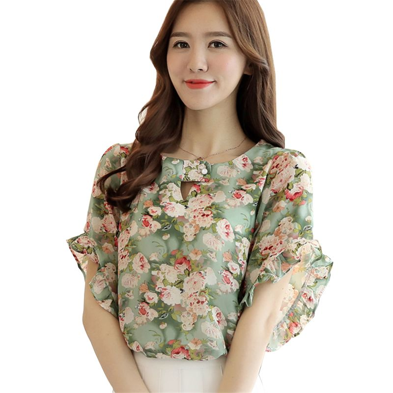 >> Click to Buy << 2017 Summer Women Shirt Fashion Short Butterfly Sleeve O-Neck Hollow Out Chiffon Blouse Floral Print Ladies Casual Blouses Tops #Affiliate