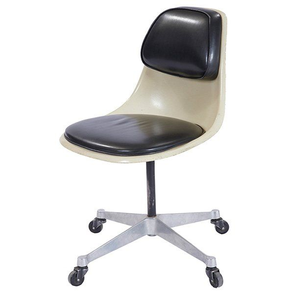 Charles And Ray Eames; Fiberglass, Vinyl And Aluminum Task Chair For Herman  Miller, 1960s.