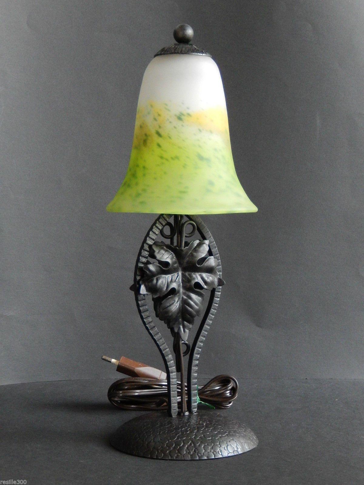 Lampe en fer forge et tulipe en pate de verre ebay
