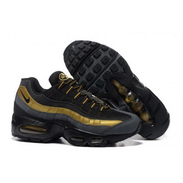 big sale f347c 9bada Mens Nike Air Max 95 Essential Black Gold Shoes