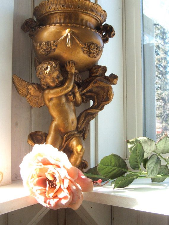 1975 Gilded Cherub Wall Pocket Vase Planter from Universal Statuary Corp