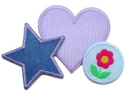 Applikation 2 Aufnäher Sterne Jeans rosa Patch Flicken Hosenflicken Knieflicken