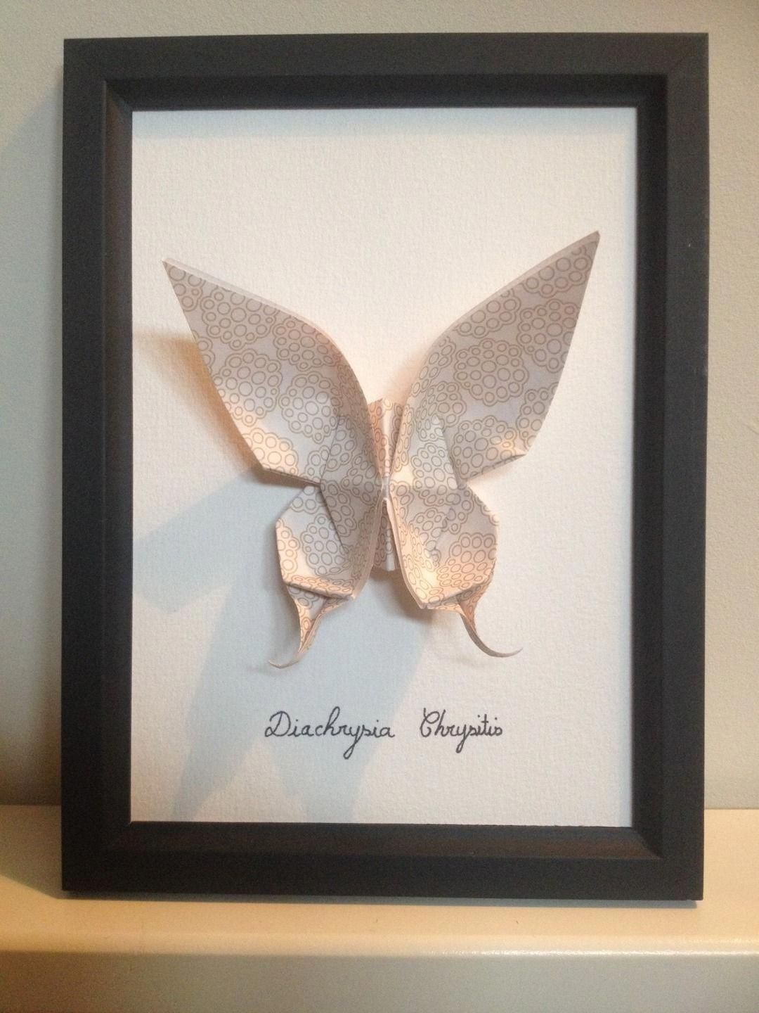 White and cream origami butterfly in a black wooden frame ...