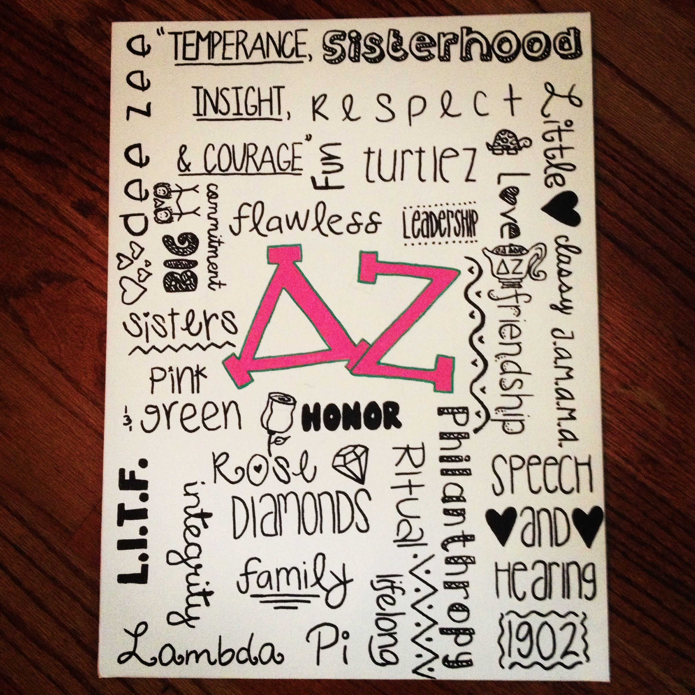 Delta Zeta #DIY canvas idea. Make this for your big/little or make this for your own room. This canvas will look great on any #DZ girl's wall.