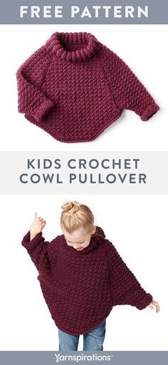 Free Girl's Crochet Pullover Pattern | This beginner friendly crochet pullover is a perfect layering piece for your little one! Working a simple crochet stitch and some basic shaping this sweater is great for beginners. Crocheted in super soft Bernat Roving, this easy to care for yarn makes this sweater a staple for winter. #yarnspirations #bernatroving #kidscrochetpatterns #crochet #freecrochetpatterns #crochetponchokids