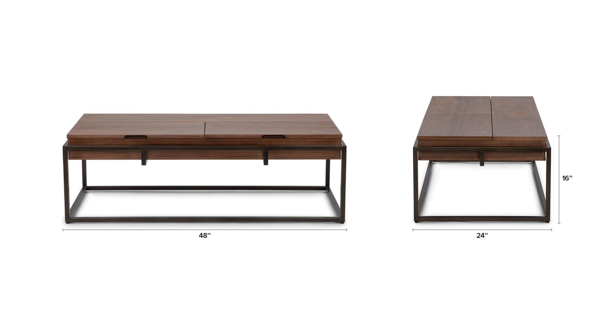The Oscuro Coffee Table Features Natural Wood Grain Juxtaposed Against Brushed Metal For Coffee Table Mid Century Modern Coffee Table Coffee Table With Storage [ 1063 x 2048 Pixel ]
