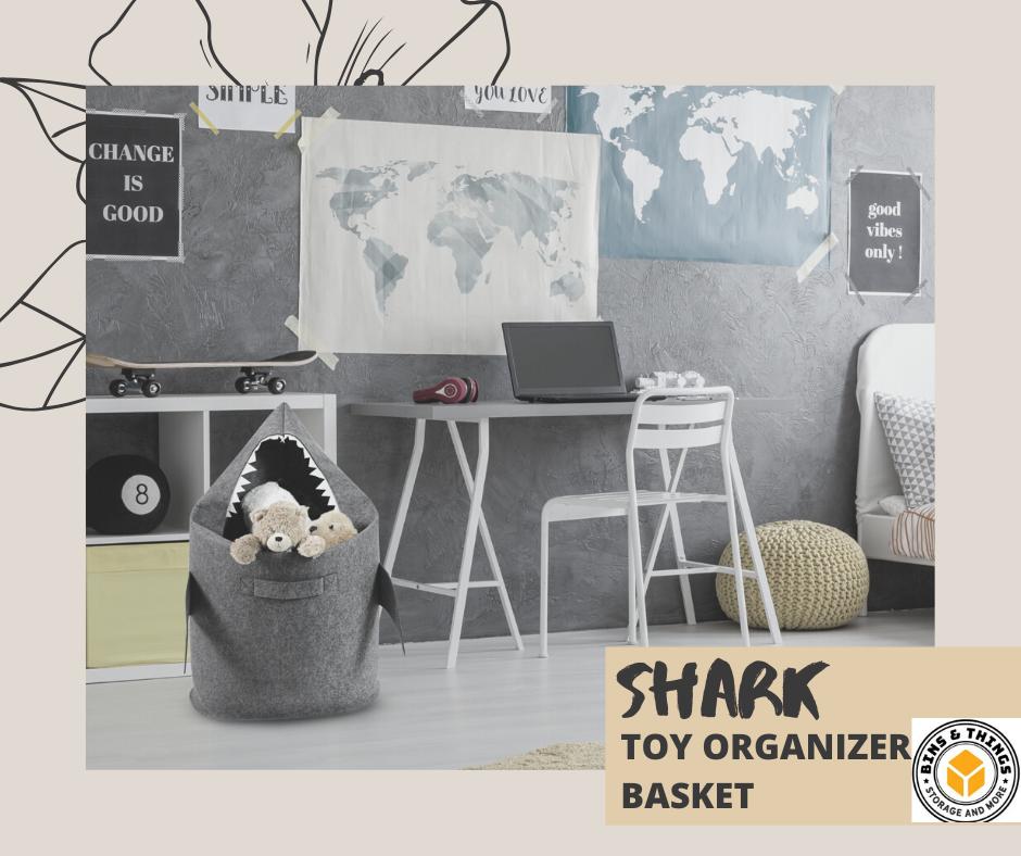 Bins Things Shark Kids Laundry Hamper Toy Organizer Basket