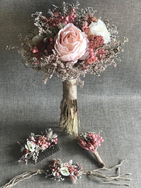 Wedding Dried Flower Set - Bridal Bouquet, Bridal Flower Clasp ( or Crown ), Corsage and Boutonniere (4 Pieces)