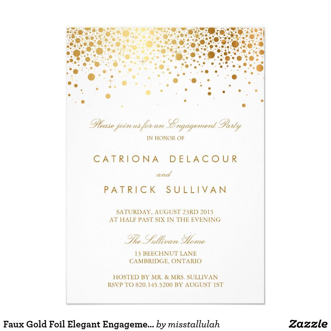 Faux Gold Foil Elegant Engagement Party Invitation | Engagement ...
