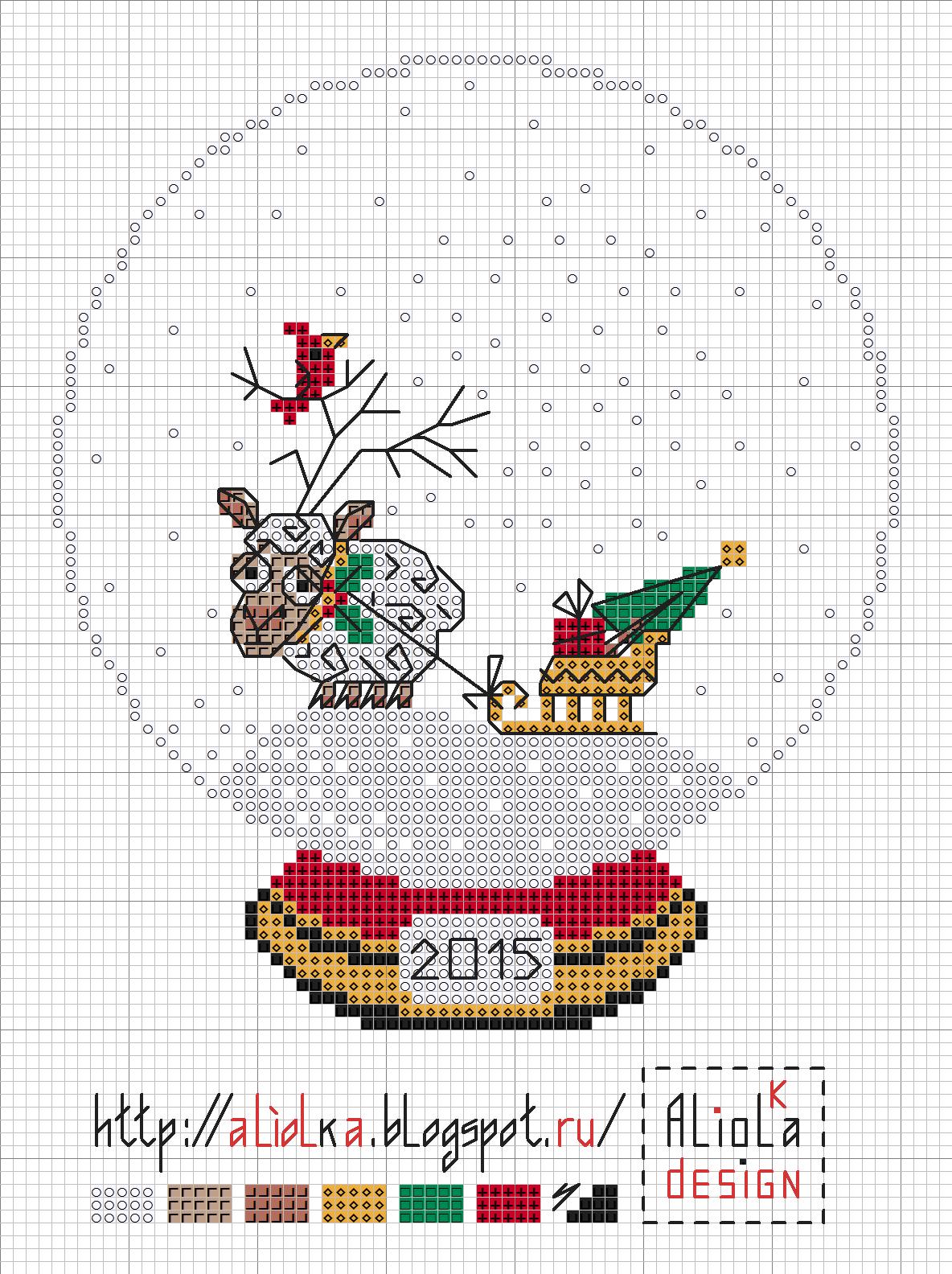 домик в снежном шаре схема вышивки