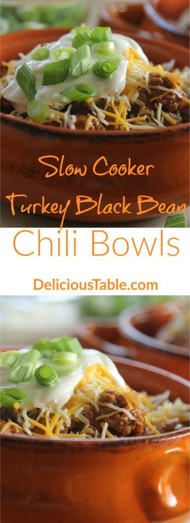 Easy, healthy slow cooker turkey chili bowls made with ...
