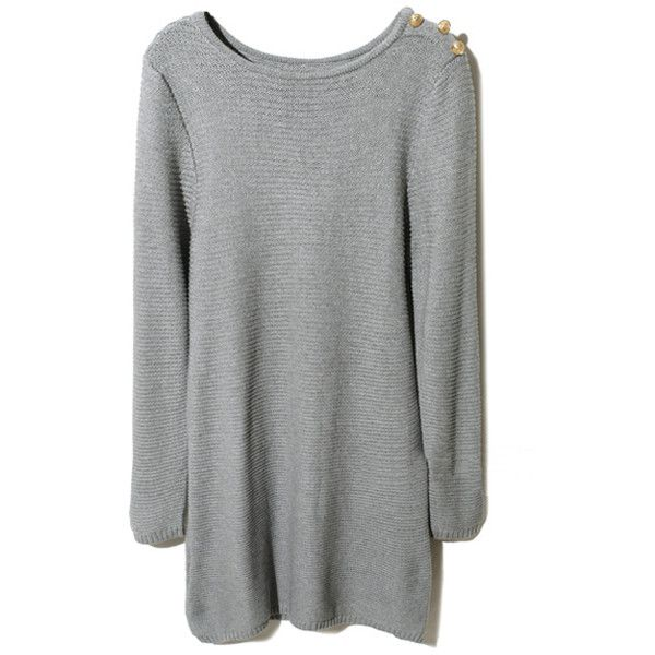 Buttoned Grey Knitted Dress ($70) ❤ liked on Polyvore