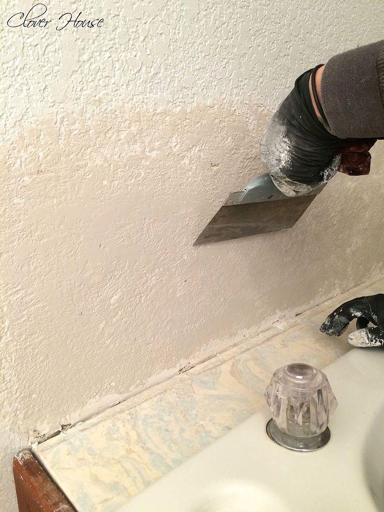 Beautiful Bathroom Wall Makeover Stucco Repair Drywall
