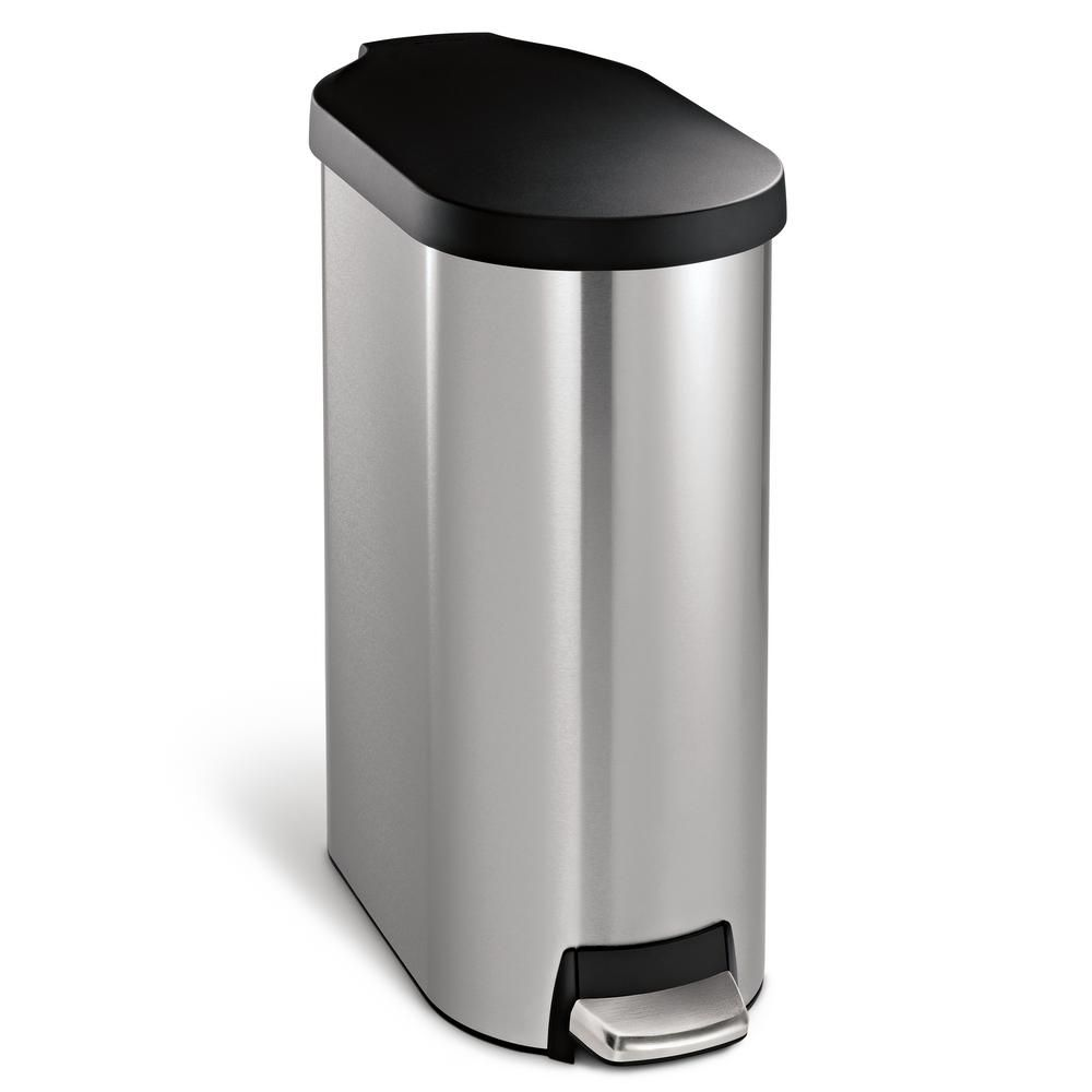Simplehuman 45 Liter Fingerprint Proof Brushed Stainless Steel Slim Step On Trash Can With Black Plastic Lid Cw1969 The Home Depot Brushed Stainless Steel Trash Can Simplehuman Slim stainless steel trash can