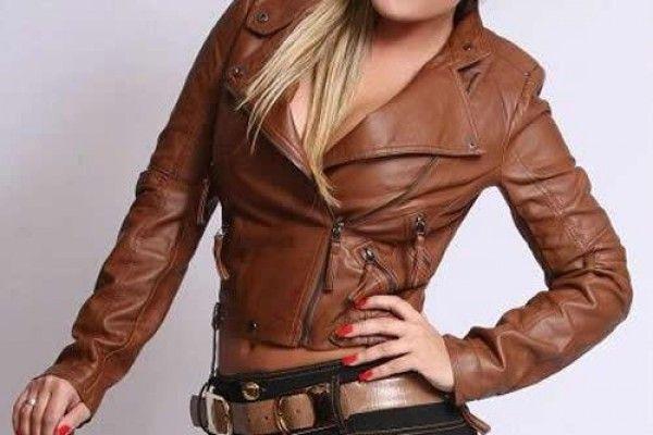 Jaqueta de couro marrom!