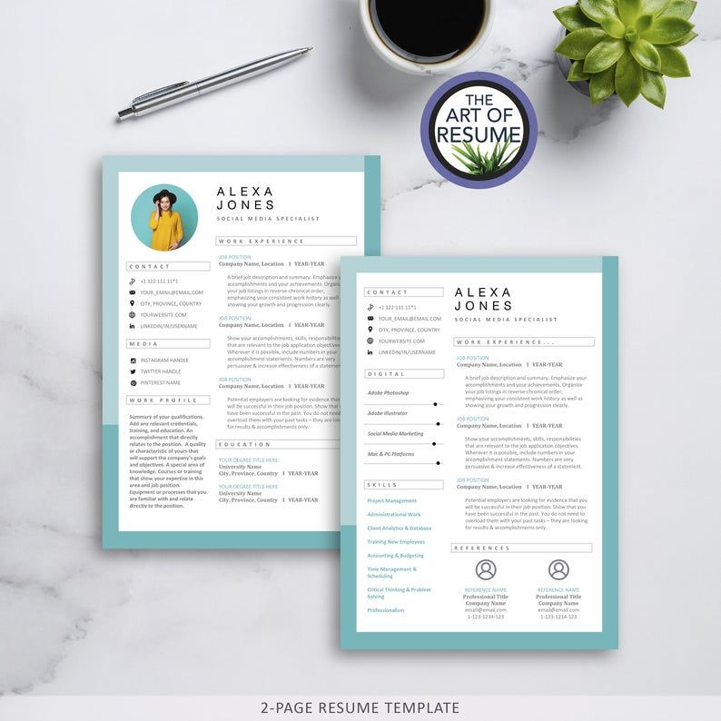 Creative Cv Resume Templates With Photo For Word Pages Mac Etsy Resume Design Creative Resume Design Cv Resume Template