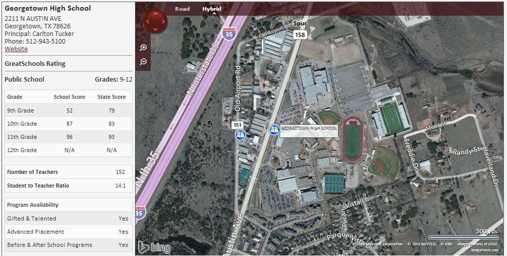 Map Of Texas High Schools.Homes Near Georgetown High School In Georgetown Texas Home Finders