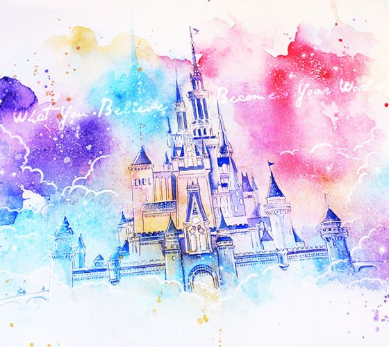 Dream Castle Watercolor Painting By Kinko White From Estonia No