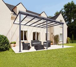 Dim L 4 25 X P 3 X H Adaptable De 2 85 A 3 05 M Structure Aluminium Gris Anthracite Toit En Plaque De Polycarbonate Emboitable Pergola Roof Pergola Pergola With Roof Polycarbonate Roof Panels