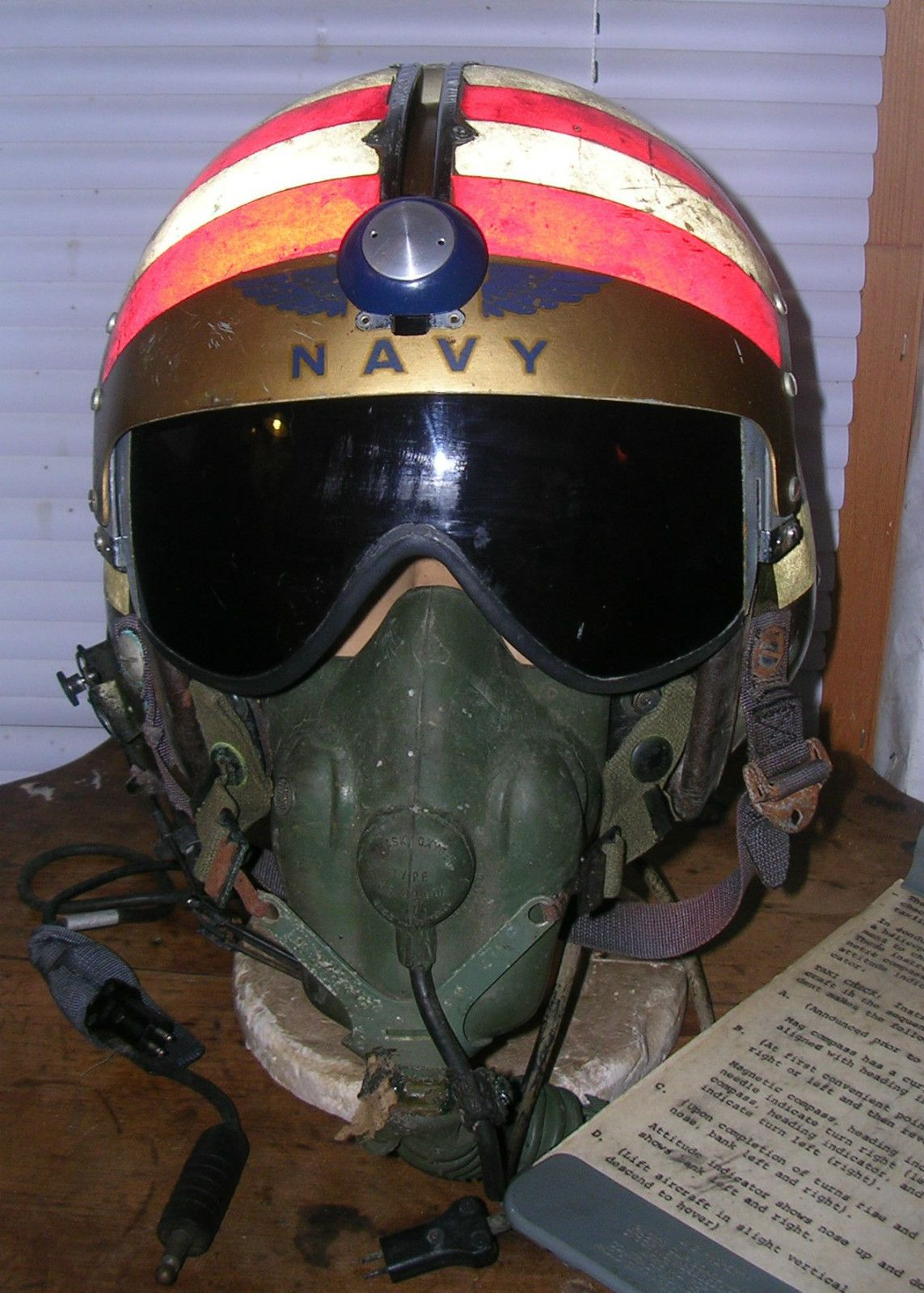 2a45532149 Early USN Navy APH 5 Flight Helmet with Oxygen Mask ID Ed to Vietnam MIA  Pilot