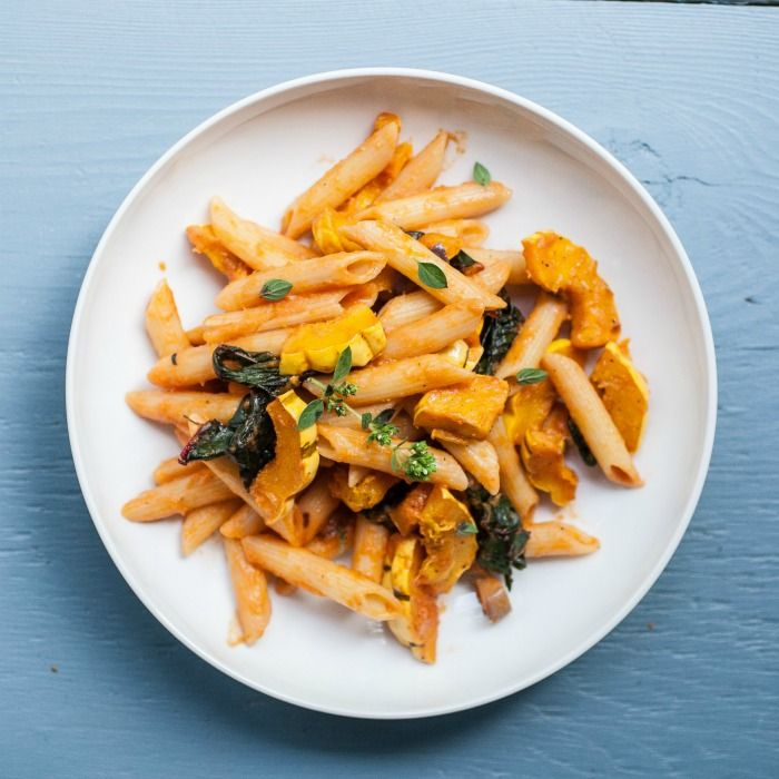 Can't wait to try this delicious looking fall pasta recipe!  Delicata Squash & Chard Penne Pasta — Produce On Parade