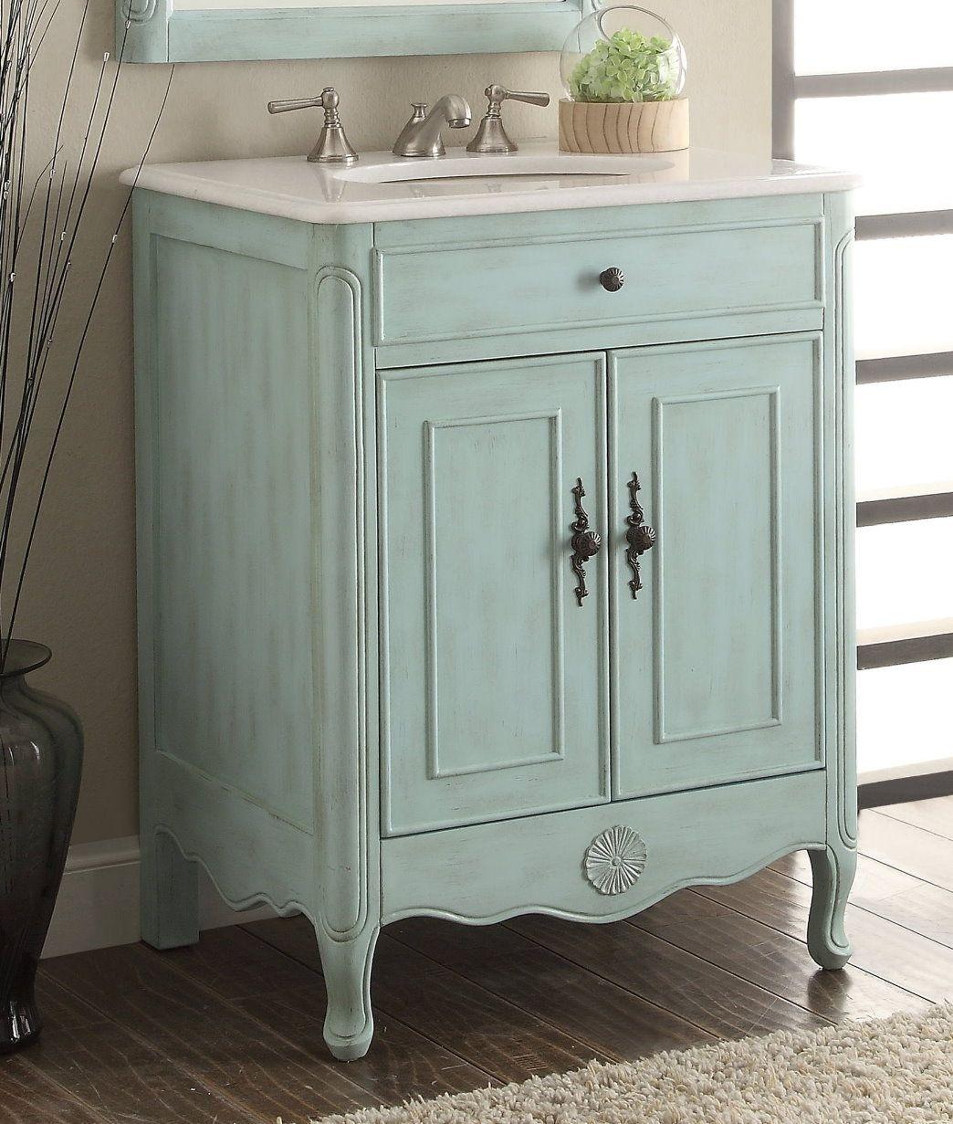 . 26 inch Adelina Cottage Light Blue Bathroom Vanity Crystal White