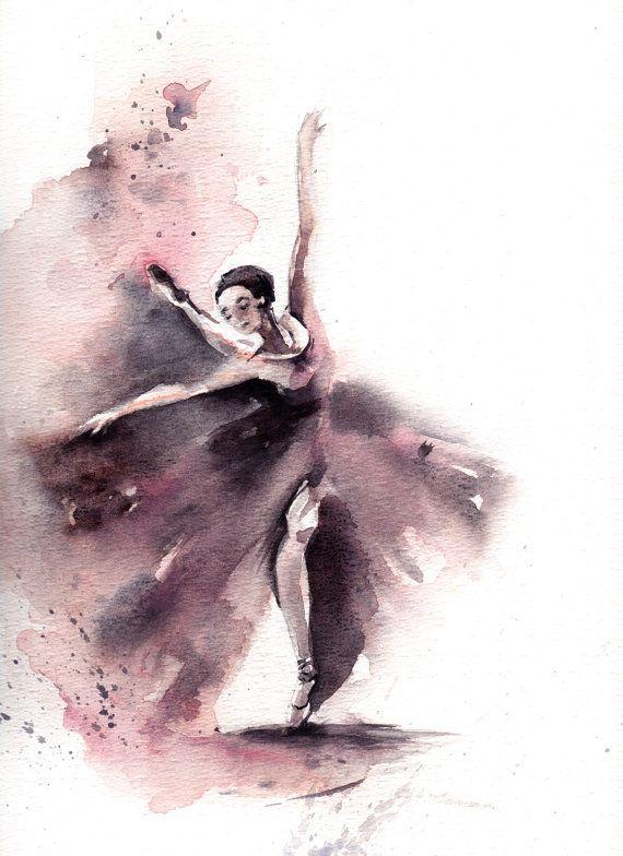 Original Aquarell Ballerina Malerei Aquarell Kunst Von Canotstop