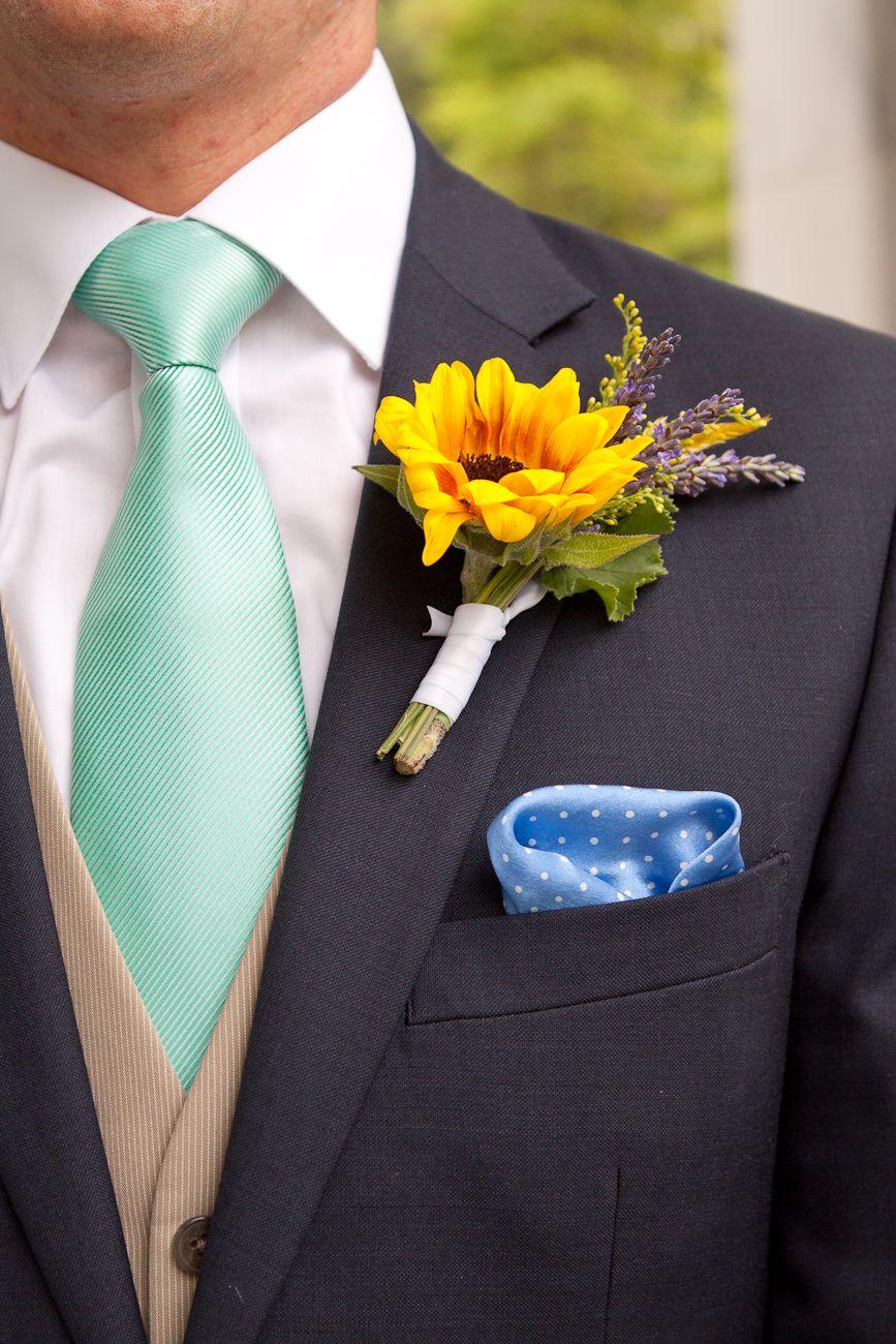 Sunflower Boutonniere Sunflower Wedding Lavendar Wedding Boutonniere Wedding