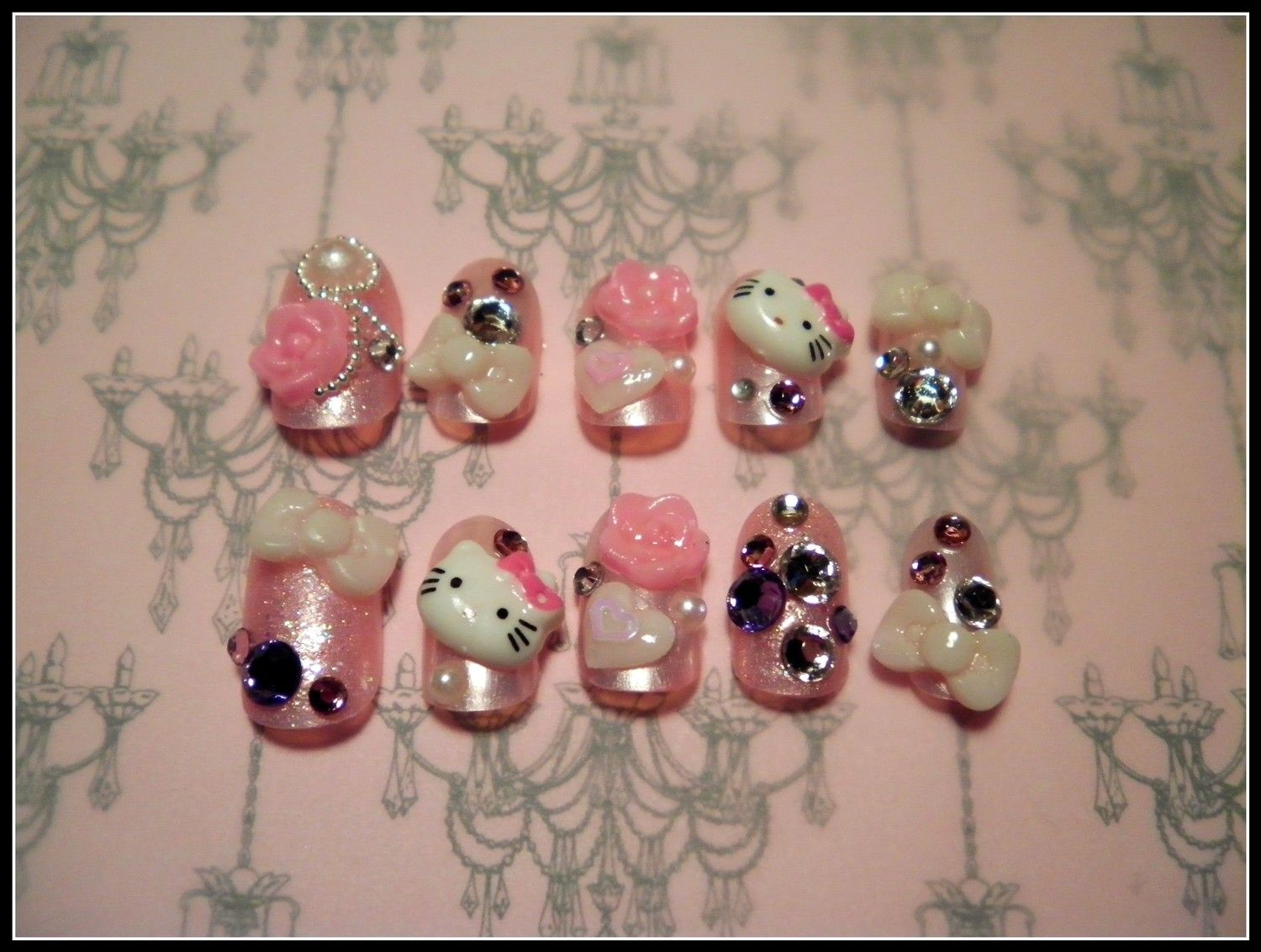 Japanese 3D Nail Art - Hello Kitty | Hello kitty nails