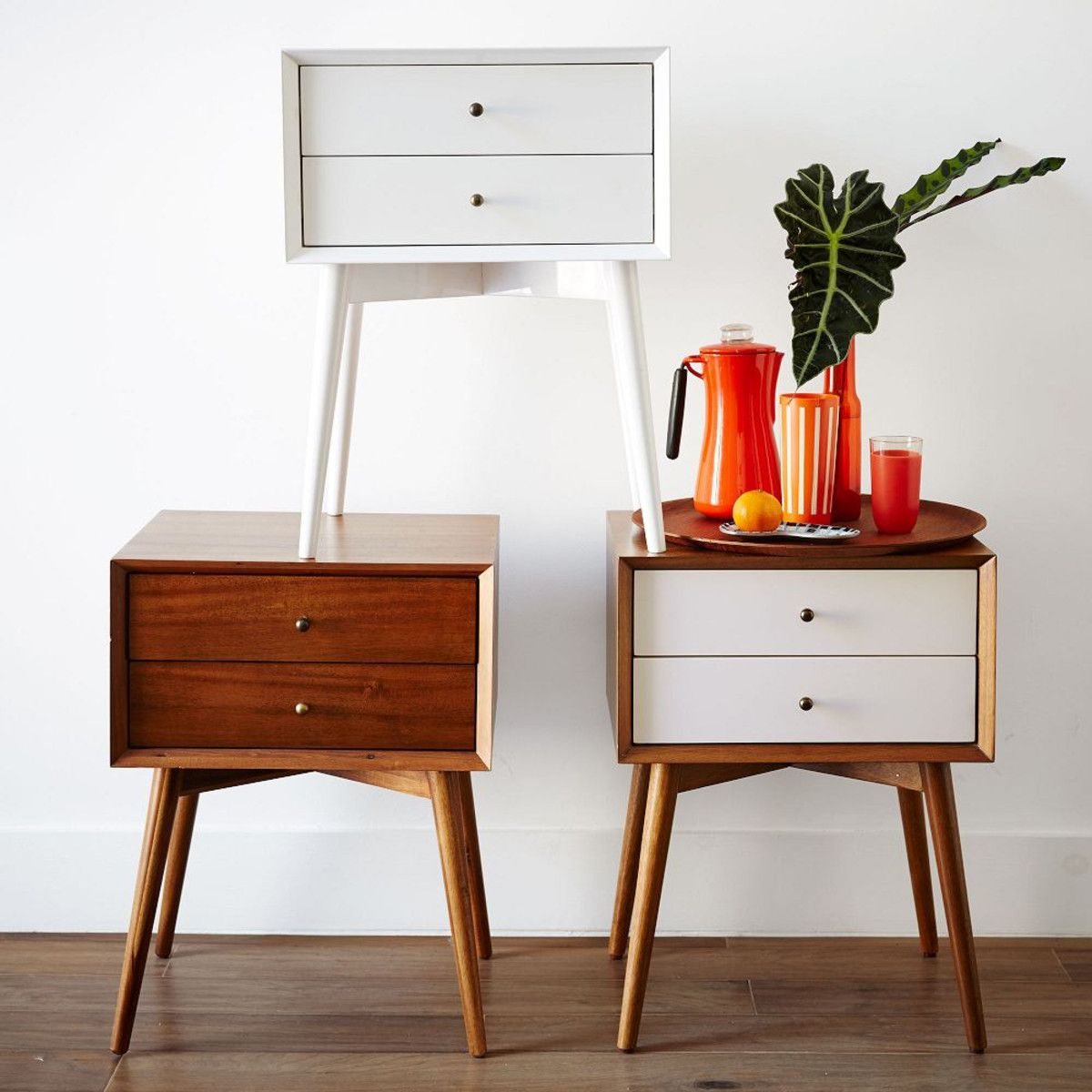 mid-century bedside table - white + acorn | mid century, bedrooms