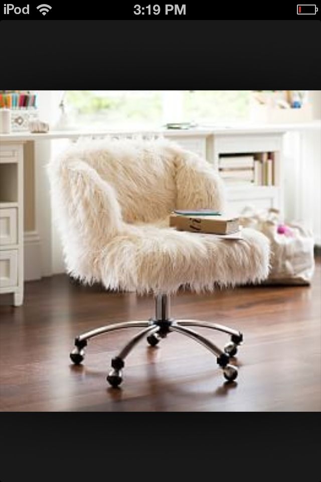 White Fluffy Desk Chair Cute For Any Girl Bedroom With Images