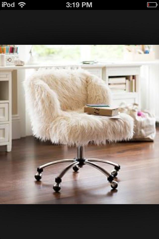 Fluffy Desk Chair Glides For Carpet White Cute Any Girl Bedroom Room