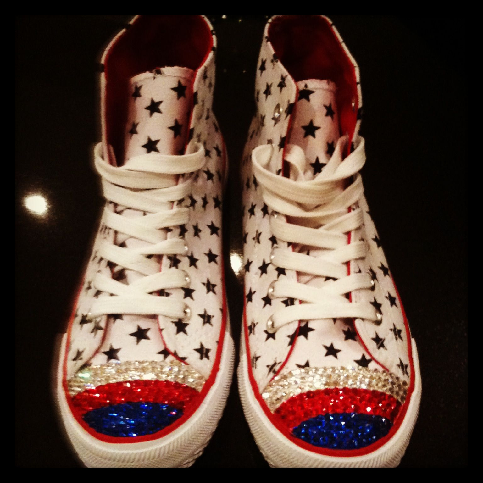 Customised high top converse !!!! # Swarovski # bling # converse #cool