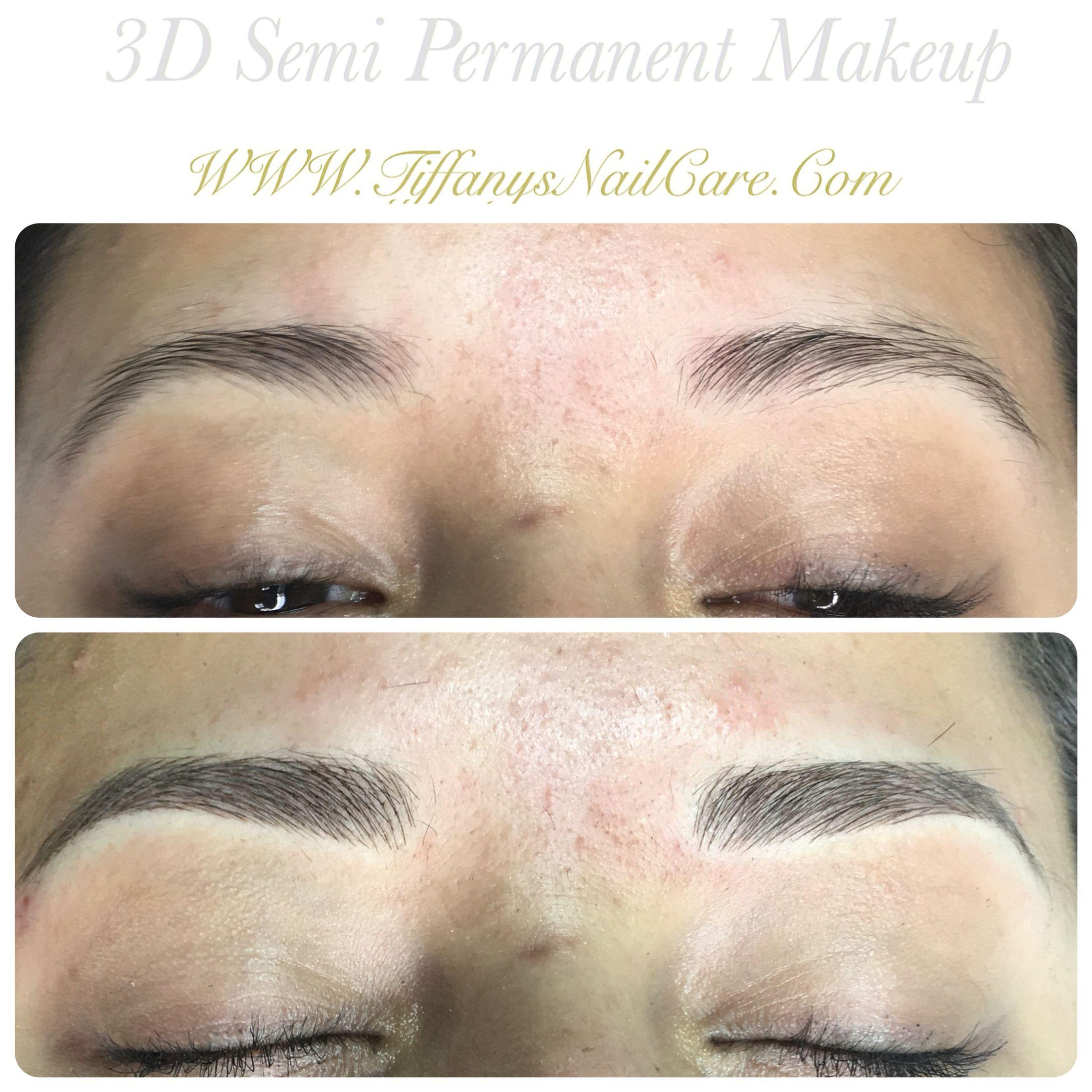 3d hair stroke semi permanent makeup Brow tattoo. Cosmetic ...