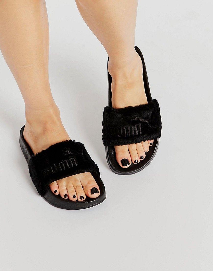 Black sandals rihanna - Image 1 Of Puma X Rihanna Fenty Leadcat Fluffy Sliders In Black