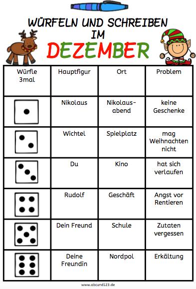 Würfeln und Schreiben im Dezember, schreiben, Würfelspiel ...
