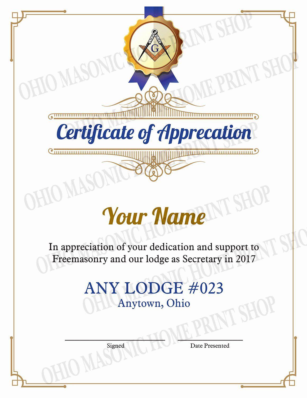 Masonic Certificate Of Appreciation Template Unique Certificates Of Appreciation Templates For Certificate Of Appreciation Certificate Templates Award Template